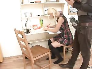 Long Haired Blonde Teen Fucked Up The Butt