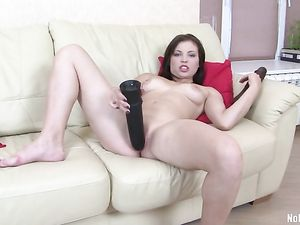 Black Dildos And A Puffy Tits Girl Fucking Solo