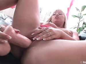 Slutty Blonde Opens Her Asshole For An Erect Cock