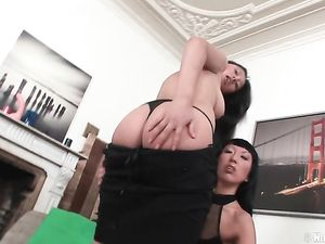 Asian Strapon Fucking A Slutty Bent Over Lesbian
