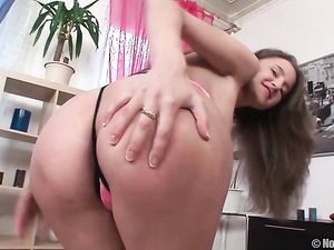 Teen With Perky Tits Fucks A Dildo In Close Up