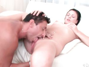 Shaved Young Cunt Licked By His Eager Tongue