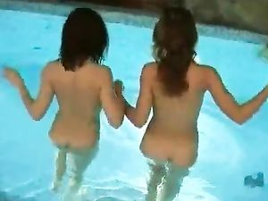 Naked Lesbian Teens Go Swimming And Fuck Poolside