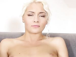 Tanned Blonde Spreads Her Legs Wide To Get Off