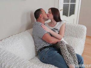 Sensually Kissing The Hot Girl He Wants To Ass Fuck