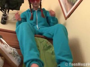 Pigtailed Teen In Her Pajamas Strips And Masturbates