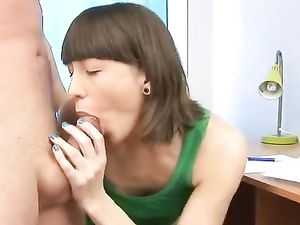 Quick Pierced Tongue BJ Gets Him Hard For Fucking