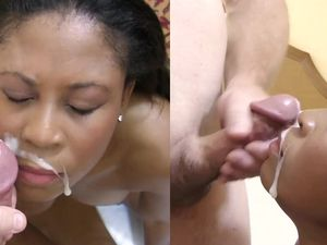 Sexy Black Whore Paid To Make White Cock Cum