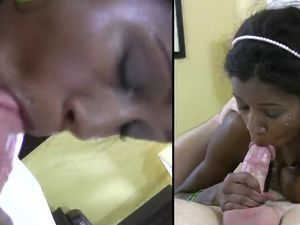 Petite Ebony Teenager In Pigtails Fucks A White Dude