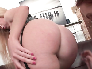 Babes In Hot Stockings Fuck A Double Dildo Anally