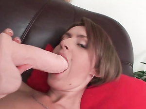 Tease In A Miniskirt Gives Her Pussy A Toy Fucking