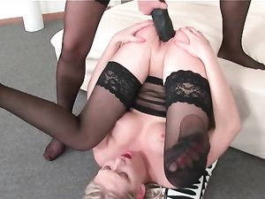 Nylon Beauties Love Pussy Stretching Strapon Sex