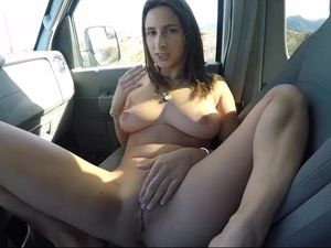 Man Picks Up Sexy Brunette In The Road And Fucks Inside Car