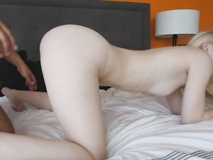Cute Teen Taking Loads From Cock After Passionate Sex In The Bed